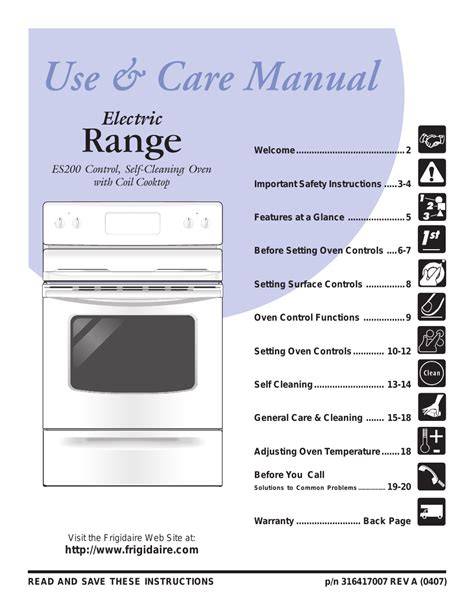 frigidaire gas stove frigidaire es200 user manual 22 pages