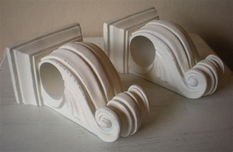 shabby chic curtain holders curtain rod bracket holder shabby heirloom white