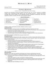 Technical Recruiter Resume Exle by Resume Exle 57 Recruiter Resume Sle Human Resource