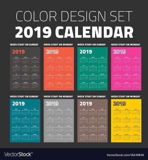 calendar colors color pocket calendar set 2019 royalty free vector image
