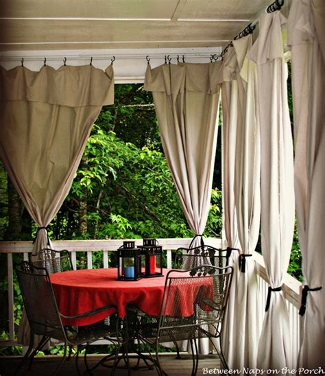 drop cloth curtains   porch add privacy  sun control