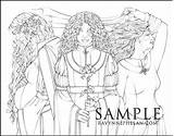 Crone Maiden Mother Colouring sketch template