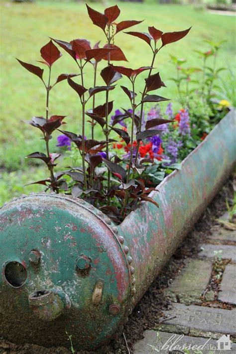 planter    funky  hot water heater garden
