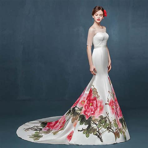 chinese floral painting illusion ivory satin strapless