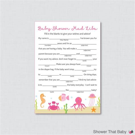 sea baby shower mad libs printable baby shower