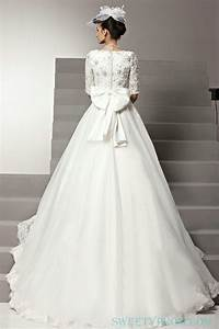 chiffon a line middle sleeves wedding dress with big bow With wedding dress with bow on back