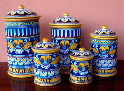 4 kitchen canister sets deruta pottery 5 pcs canisters set geo pattern ebay
