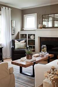 Warm gray white wood living room for Warm grey living room