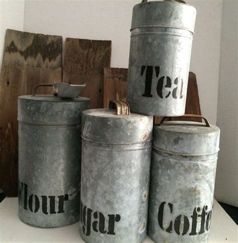canister set galvanized aluminum vintage