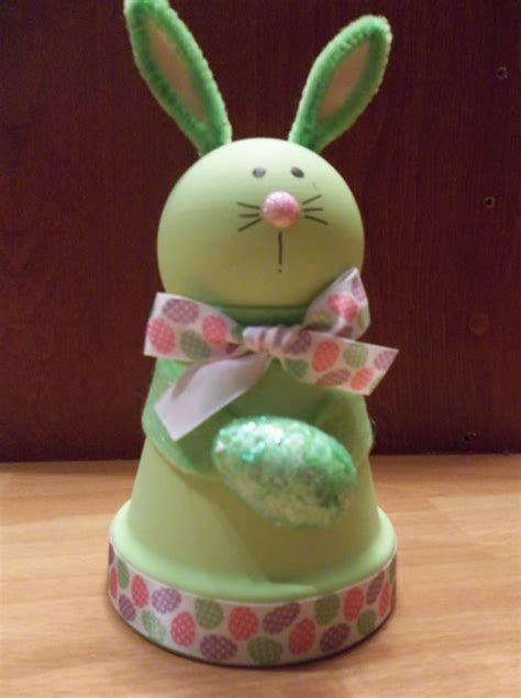 clay pot green easter bunny  raysclaypotcreations