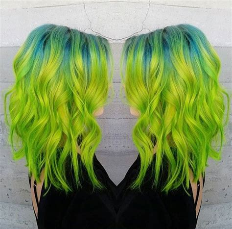 colored roots gorgeous chartreuse hair with teal roots colourful hair
