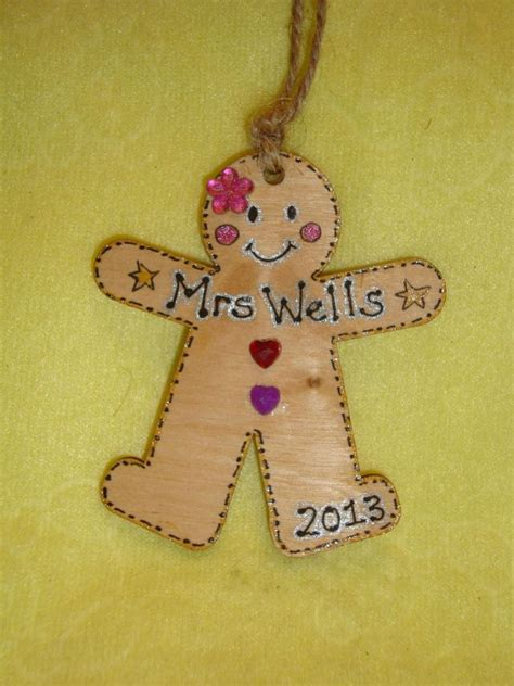 personalised gingerbread lady girl wooden christmas tree