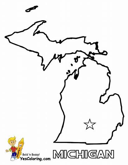 Michigan Coloring Map Pages State Maps Outline