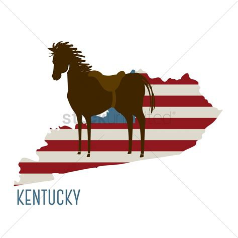 Kentucky State Map With Horse Vector Image 1551736