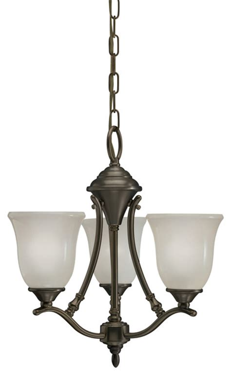Casual Chandelier by Azted Lighting Casual Bronze 3 Light Chandelier