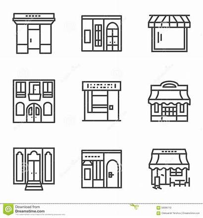 Building Simple Facade Line Commercial Cafe Architecture