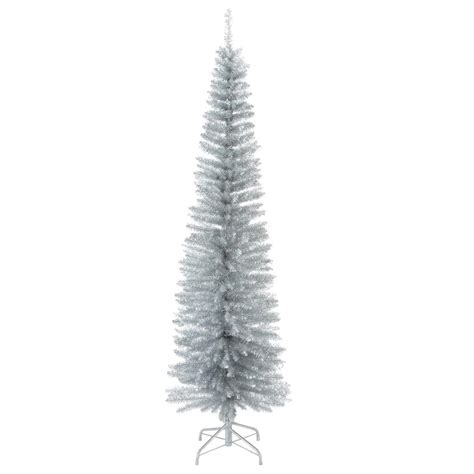 national tree company 6 5 ft decorator s slim silver tinsel artificial christmas tree dec7 501