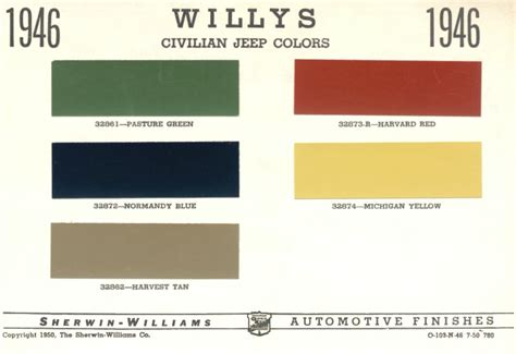 1946 willys jeep cj2a original color chart a photo on