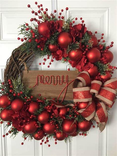 merry  bright door wreath christmas  pinterest
