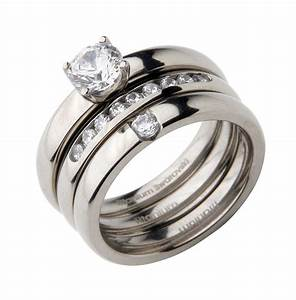 triple titanium bridal set engagement eternity and cz With engagement wedding and eternity ring sets