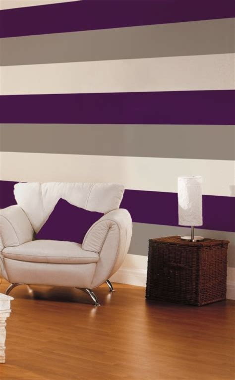 purple striped wallpaper  contrasting chair ideas