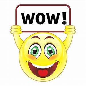 Smiley with wow sign stock vector. Illustration of ...