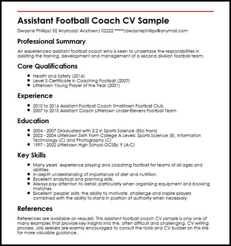 Football Coach Resume Template by Assistant Football Coach Cv Sle Myperfectcv