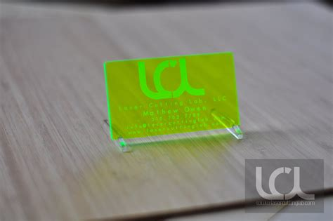laser engraved fluorescent green acrylic business cards laser cutting lab llc