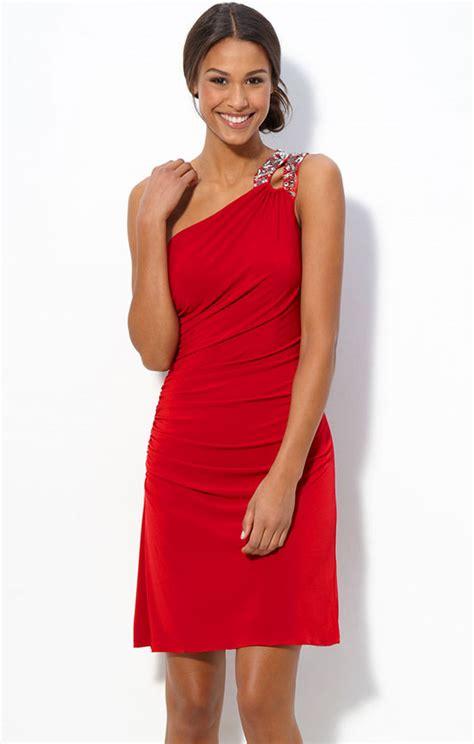 One Shoulder Red Dress  All Dress