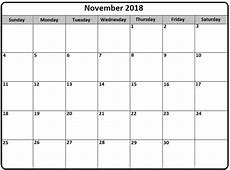 US Calendar November 2018 – Free Calendar Templates