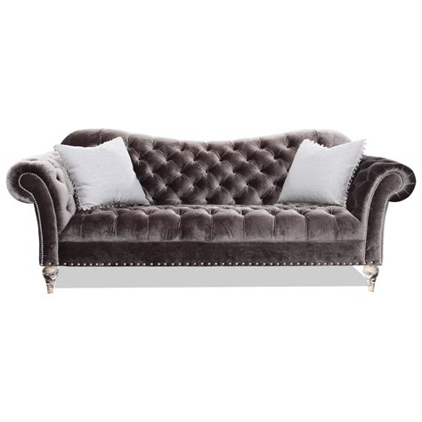 Rachlin Classics Vanna Traditional Sofa With Deep Tufted