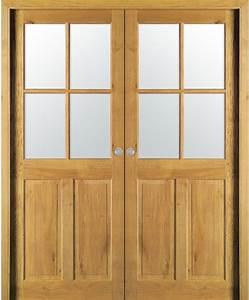 Double porte coulissante cevennes 4 carreaux chene massif for Porte de garage coulissante et porte a carreaux