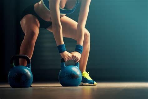kettlebell exercise crossfit workout fitness body hiit russian challenge woman training gym single routine dumbbell fat lower pose start background