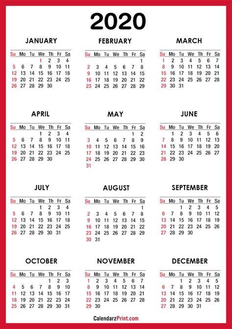 calendar printable red sunday start calendarzprint