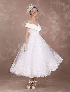 vintage wedding dresses off the shoulder short bridal With medium length wedding dresses