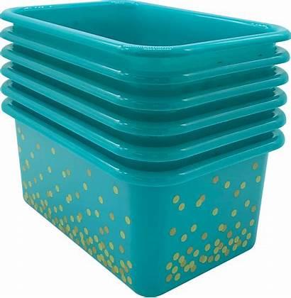 Plastic Storage Teal Confetti Bins Pack Bin