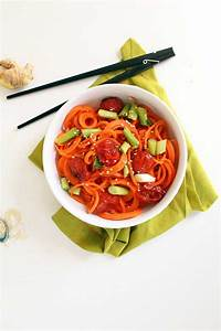 miso roasted tomatoes and carrot noodles inspiralized