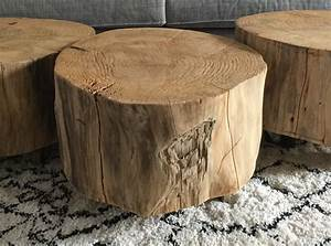 Table basse tronc d'arbre sur roulettes Le Meuble Du Photographe