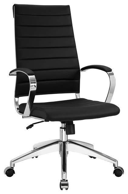 leather high back office chair black modern