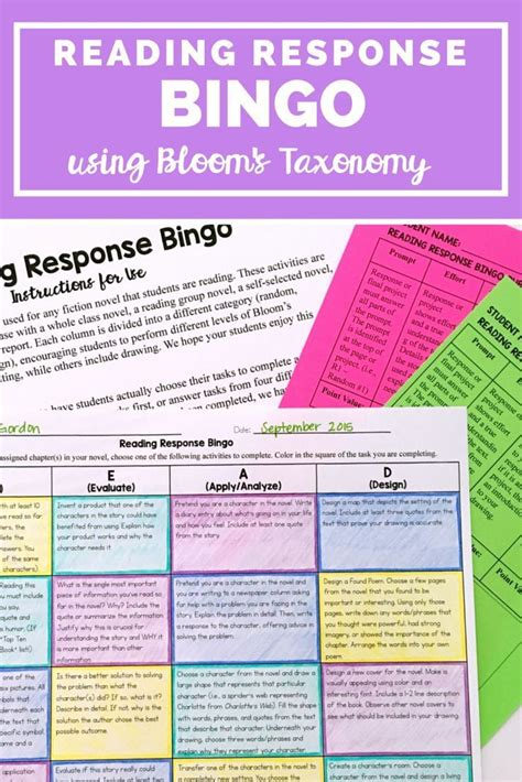 reading response projects choice board bingo