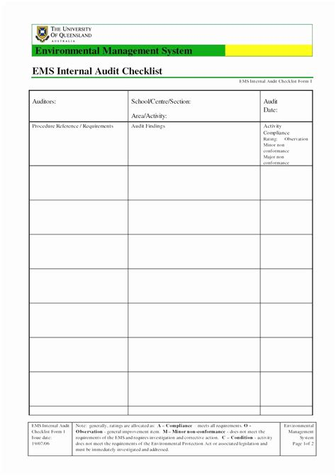 iso  audit checklist excel xls template glendale