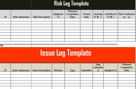 Risk And Issue Log Template Excel