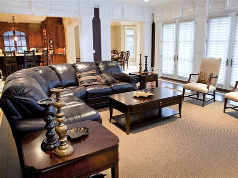 transitional living room leather sofa traditional living space photos hgtv