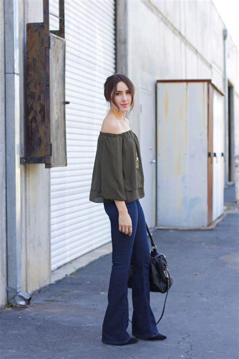 flare jeans   shoulder top elements  ellis
