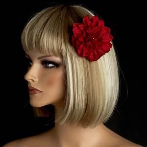 Elegant Bridal Flower Hair Clip Burgundy Red Dahlia For