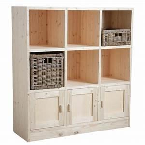 étagère Bois Brut : etag re 6 cases 3 portes en bois brut boisnature 39 l ~ Melissatoandfro.com Idées de Décoration