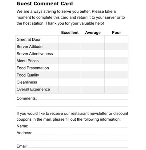 restaurant comment card templates formats examples