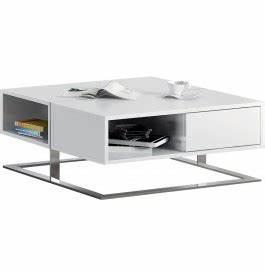 Table Basse Carrée Blanc Laqué : table basse design carr e laque blanc 2 tiroirs pieds inox ~ Teatrodelosmanantiales.com Idées de Décoration