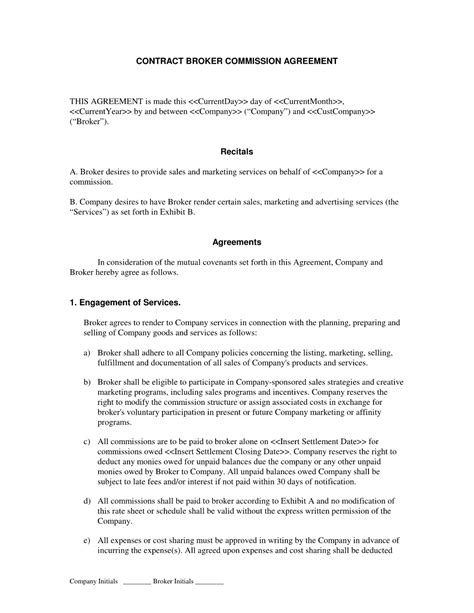 broker commission sales agreement advertising