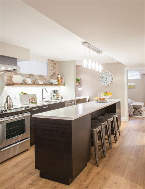 kitchen island small apartment basement kitchen with island and faux brick backsplash 5156
